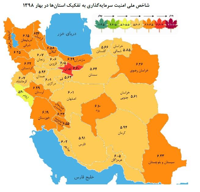 شاخص امنیت سرمایهگذاری استانها در بهار امسال/ نمره بیشتر، وضعیت بدتر